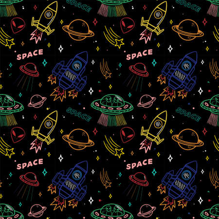 Cartoon colorful set seamless line pattern with UFO aliens spaceship planet stars on dark background. Modern vector illustration print for street wear brand clothes t shirt sweatshirt poster sticker.