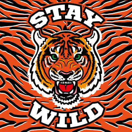 Graphic design embroidery print with angry head wild tiger with phrase