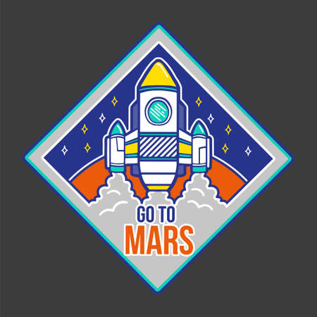 Colorful icon cartoon Spaceship which fly in up and with phrase