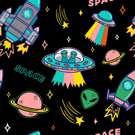 Cartoon colorful set seamless pattern with UFO aliens spaceship planet and stars on dark background. Modern vector illustration print for street wear brand clothes t shirt sweatshirt poster sticker.