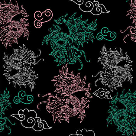 Trendy seamless embroidery pattern with graphic design colorful neon line Japan dragons. Modern vector illustration for street wear brand print clothes t shirt sweatshirt poster textile.