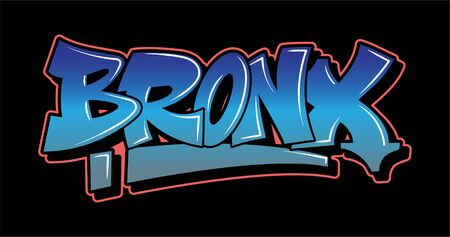 BRONX New York Graffiti decorative lettering vandal street art free wild style on the wall city urban illegal action by using aerosol spray paint. Underground hip hop vector illustration print t shirt Illustration