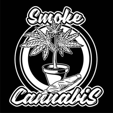 Vintage flower pot with plant of cannabis leaf marijuana weed green hemp joint for smoking. illustration fashion print poster t shirt embroidery sweatshirt banner sticker patch icon logo. Ilustrace