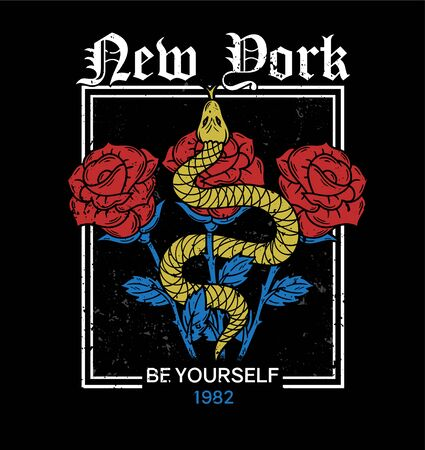 New York trendy embroidery print on t shirt tee sweatshirt textile shake and roses in frame vintage rock style for street casual wear Print with fashion phrases graphic design old school illustration