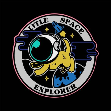 monochrome graphic vintage icons embroidered patches stickers pins with first little dog astronaut in space explorer . Modern vector mascot logo trendy print for clothes t shirt sweatshirt poster kids Illustration
