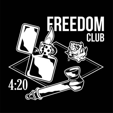Vintage devices for smoking cannabis marijuana leaves of weed hemp lighter smoking tube hemp Vintage neon style Illustration fashion print for t shirt sweatshirt poster embroidery clothes design logo