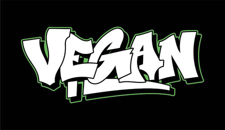 Graffiti green inscription Vegan decorative lettering street art free wild style on the wall vandal city urban illegal action by using aerosol spray paint Underground vector old school illustration Çizim