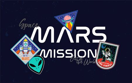 Mars mission rocket fly up in space explore colonization of red planet Mars stars satellite spaceship astronaut alien ufo Trendy fashion print t shirt sweatshirt poster sticker patch embroidery design