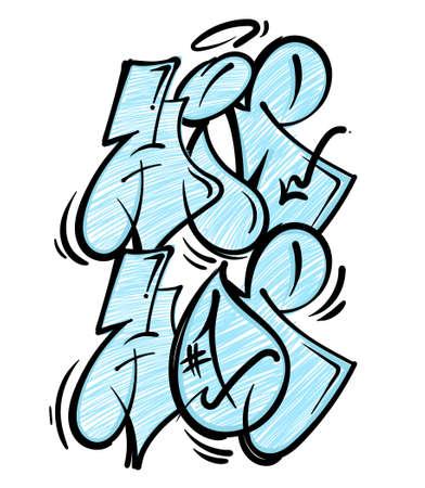 Street wild fast flop style graffiti HIP HOP rap music culture which made aerosol paint on wall. Urban life print for t shirt poster sticker sweatshirt streetwear brands underground illustration. Illustration