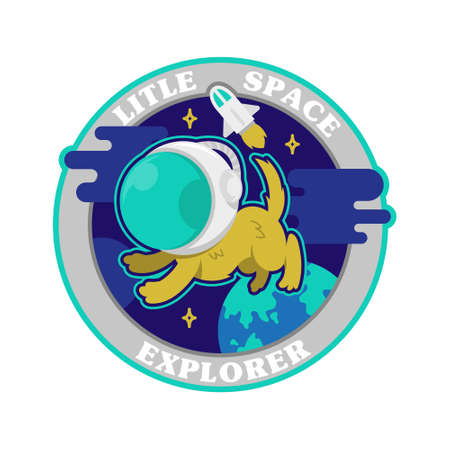 flat design graphic vintage icons embroidered patches stickers pins with first little dog astronaut in space explorer Modern vector mascot logo trendy print for clothes t shirt sweatshirt poster kids