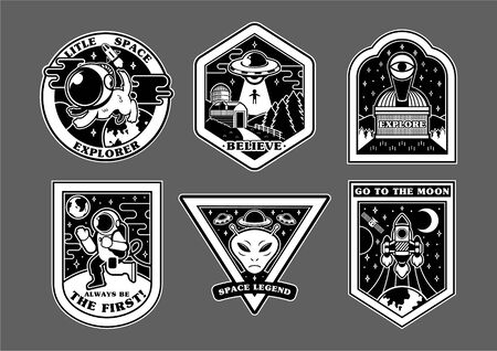 monochrome set icons with patches stickers pins on topic space explore alien ufo spaceship mars astronaut Modern vector style mascot logo trendy print for clothes t shirt sweatshirt poster kids wear