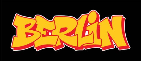 Berlin Germany Graffiti decorative lettering vandal street art free wild style on the wall city urban illegal action by using aerosol spray paint. Underground hip hop vector illustration print t shirt Illustration