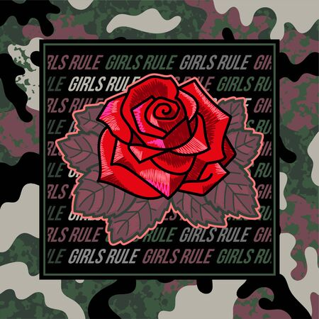 Fashion design print on clothes t shirt bomber sweatshirt also for sticker poster patch with embroidery rose which is between of feminist phrases