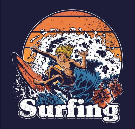 One young man crazy extreme surfer riding on big ocean wave tsunami abstract vintage fashion trendy summer print design for t-shirt poster sticker badge patch Hawaii island surfing style illustration. Illustration