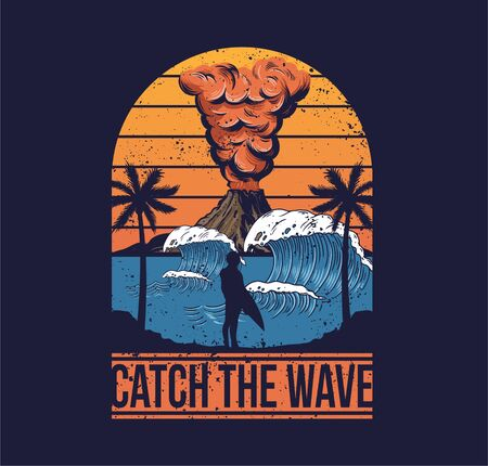 Vintage fashion trendy summer print design for t-shirt poster sticker badge patch big dangerous active volcano one man surfer big ocean wave palm summer view. Hawaii island surfing style illustration.