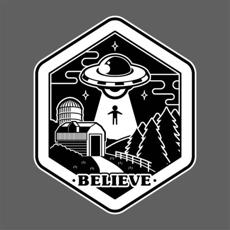 Monochrome graphic of vintage sticker patch pin print for clothes t shirt poster with UFO of alien invaders from space above farm countryside conspiracy story. Cartoon illustration logo design.