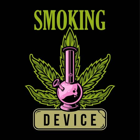 Big vintage graphic green leaf of marijuana and device for smoking medical cannabis weed hemp bong. Illustration for fashion print t shirt sweatshirt banner poster sticker patch graphic design logo.
