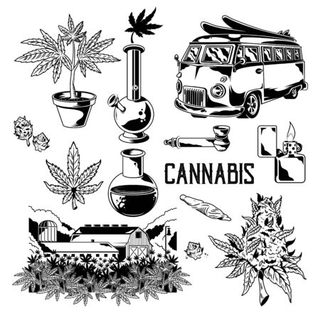 Set Cannabis elements devices for smoking marijuana leaves of weed hemp. Vintage drawing of cannabis natural farm bong joint retro travel car. Illustration for poster sticker patch logo print t shirt.