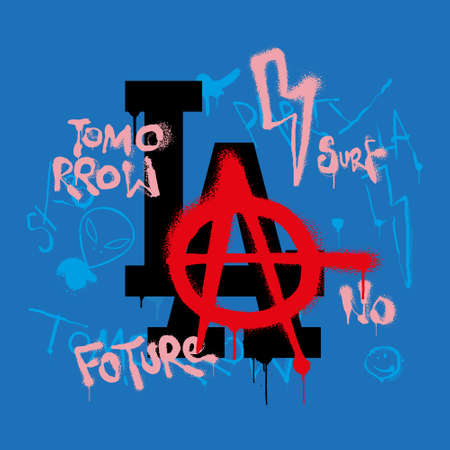 Fashion design print on clothes t shirt sweatshirt sticker poster textile With destroyed logo LA in different punk style doodle and big a symbol of anarchy. Street wear brand for young free people.