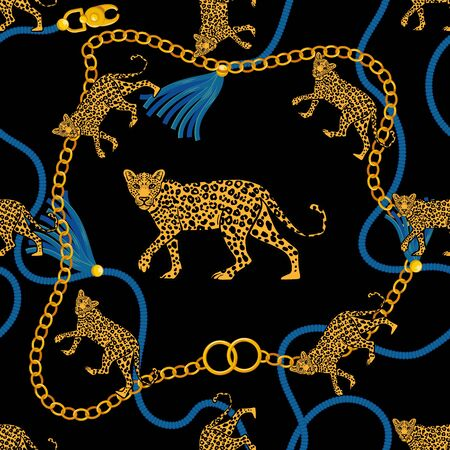 Seamless pattern with gold chain braid rope and angry wild leopard fabric design fashion print t shirt poster textile embroidery. Rich beauty vintage retro style illustration. Trendy graphic design. Vectores