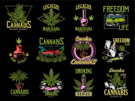 Vintage graphic set green cannabis marijuana hemp medical weed device joint for smoking old school car graphic design print t shirt sweatshirt banner phrases for embroidery on clothes illustration. Illustration