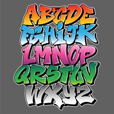 Old school Graffiti alphabet decorative lettering vandal street art free wild style on the wall city urban illegal action by using aerosol spray paint. Underground hip hop type vector illustration. Ilustração