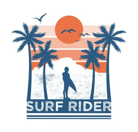 Vintage fashion trendy hipster summer print design for t-shirt poster sticker badge patch One man surf rider look on sunset and ocean sea palm summer view. Hawaii island surfing style illustration. Illustration