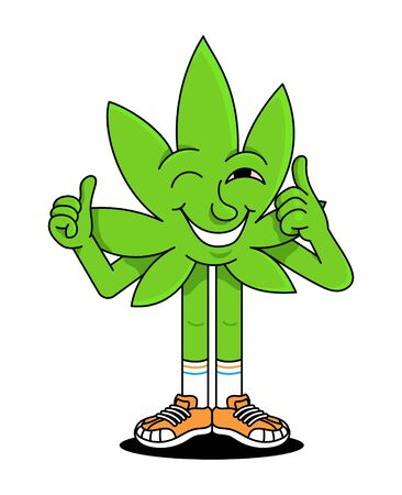 Cute happy smile natural green leaf of smoke medical cannabis marijuana weed which show thumb up like it. Good smoking emotions. Modern vector flat design illustration cartoon character emoji sticker.