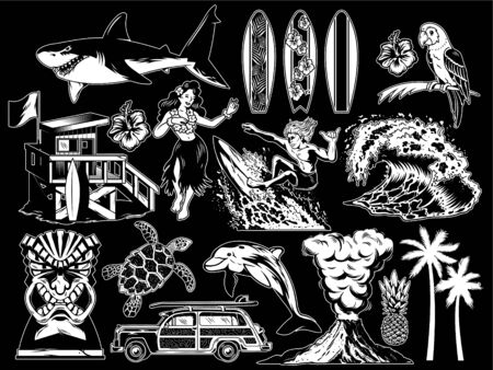 Summer paradise surfing vintage retro set icons monochrome collection with sea ocean animals wave palms travel beach old car Hawaii style poster print design t shirt sticker patch vector illustration