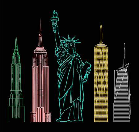 Dark fashion print design for clothes t shirt sweatshirt sticker patch poster with big Statue of Liberty from New York city also with colorful famous buildings.  イラスト・ベクター素材
