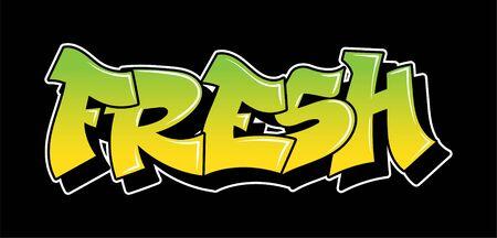 Graffiti inscription fresh decorative lettering vandal street art free wild style on the wall city urban illegal action by using aerosol spray paint. Underground hip hop type vector illustration.