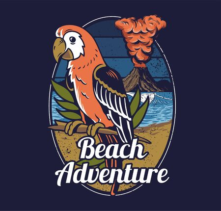 Red tropical exotic wild parrot bird Hawaii summer beach with ocean sea wave and big active volcano on background Vintage fashion trendy illustration print design clothes t shirt poster badge sticker.