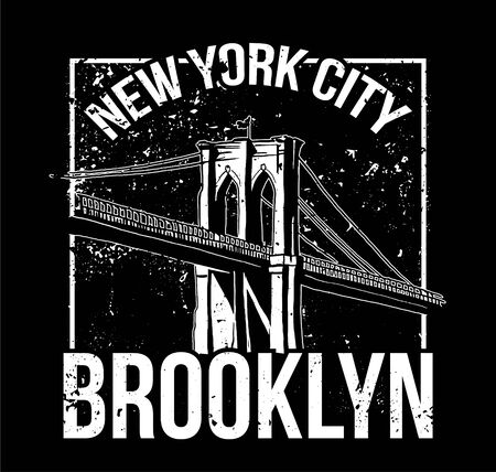 Street style black white print with Brooklyn bridge from New York city . For fashion design print on clothes t shirt bomber sweatshirt also for sticker poster patch. Underground style.  イラスト・ベクター素材