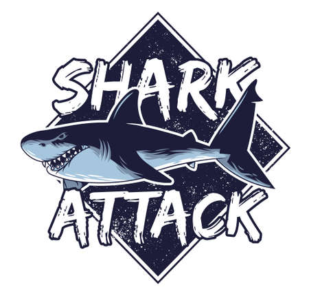 Big angry hungry dangerous abstract shark attack animals predator fish in deep ocean sea California Hawaii vintage style fashion trendy illustration print t-shirt summer poster sticker badge patch Stock Illustratie
