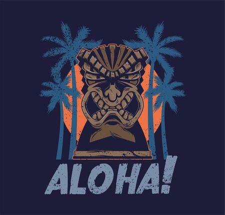 Vintage Hawaii tribal angry tiki mask idol aloha totem traditional Hawaiian primitive wood sculpture Polynesian style with palm for print design t-shirt poster sticker badge cartoon illustration
