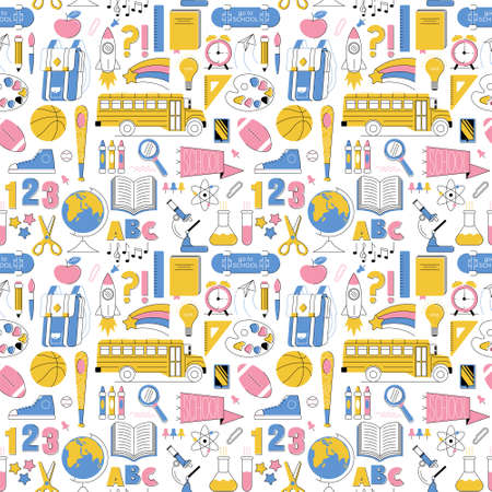 Education seamless pattern, set icons back to school in line minimalist style colorful childhood illustration. Fashion textile for print, t shirt, poster, clothes for kids, flyers, banner, stickers.