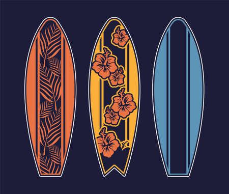 Set surfboard print design for surfing ride or decor. Sport vacation on ocean sea holiday vintage hipster old school cartoon illustration extreme sport on big wave California Hawaii Malibu Long Beach.