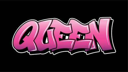 Pink inscription Queen Graffiti decorative lettering vandal street art free wild style on the wall city urban illegal action by using aerosol spray paint. Underground hip hop type vector illustration. Stock Illustratie