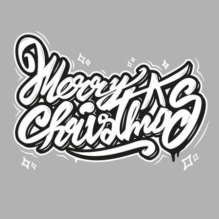Merry christmas vector art text snow winter lettering like graffiti decorative inscription phrase for Creative typography for Holiday Greeting Gift Poster. Calligraphy Font style Banner. illustration