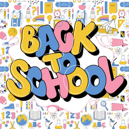 Back to school cute colorful kids inscription in graffiti doodle trendy style. Education modern lettering cartoon illustration with different school subjects on seamless pattern on background. Stock Illustratie