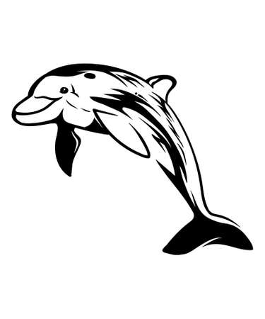 Very cute dolphin which jump out of the sea or ocean wild freedom mammal fish animal. Drawing graphic style cartoon character vector isolated illustration retro vintage style. Poster print design. Ilustração