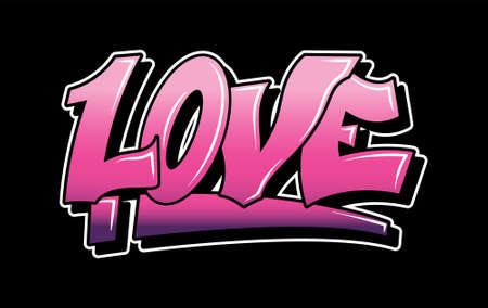 Graffiti white inspiration LOVE for decorative lettering vandal street art free wild style on the wall city urban illegal action by using aerosol spray paint. Underground type vector illustration.