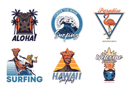 Set vintage print collection Summer Hawaii California paradise surfing retro icons logo with sea ocean animals wave view palms travel beach surfer for poster t shirt sticker patch fashion illustration