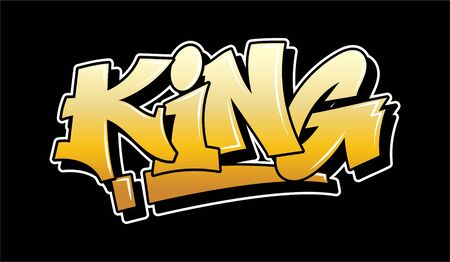 Gold inscription King Graffiti decorative lettering vandal street art free wild style on the wall city urban illegal action by using aerosol spray paint. Underground hip hop type vector illustration.