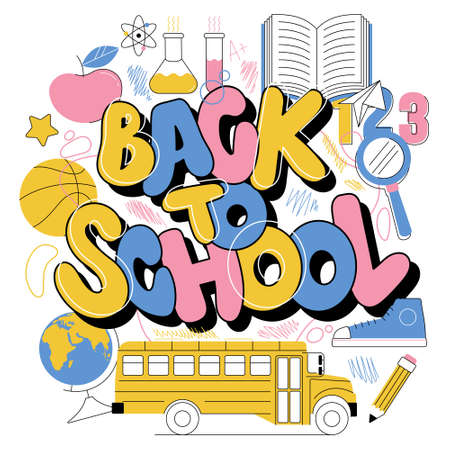 Back to school cute colorful kids inscription in graffiti doodle trendy style. Education modern lettering cartoon illustration with different subjects bus book globe pencil ball apple Chemistry flasks