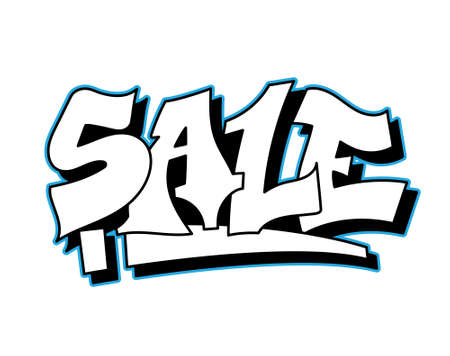 Graffiti inscription SALE for shops decorative lettering vandal street art free wild style on the wall city urban illegal action by using aerosol spray paint. Underground type vector illustration.