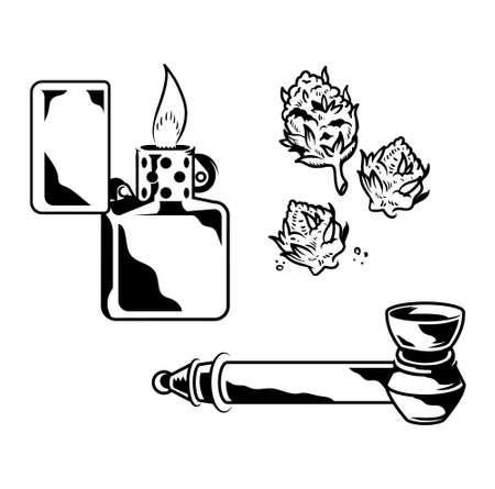 Set Cannabis elements devices for smoking marijuana leaves of weed hemp lighter smoking tube with hemp. Vintage drawing of natural cannabis Illustration for poster sticker patch logo print t shirt.