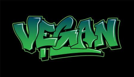 Graffiti green inscription Vegan decorative lettering street art free wild style on the wall vandal city urban illegal action by using aerosol spray paint Underground vector old school illustration Stock Illustratie