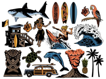 Summer paradise surfing vintage retro set icons colorful collection with sea ocean animals wave palms travel beach old car Hawaii style poster print design t shirt sticker patch vector illustration