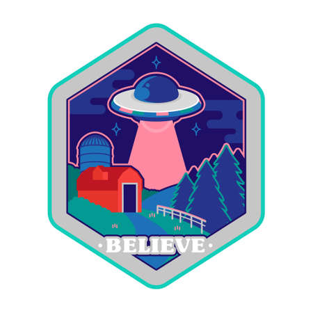Colorful vintage sticker patch pin print for clothes t shirt poster with UFO of alien from space above farm countryside conspiracy story. Cartoon illustration logo design.